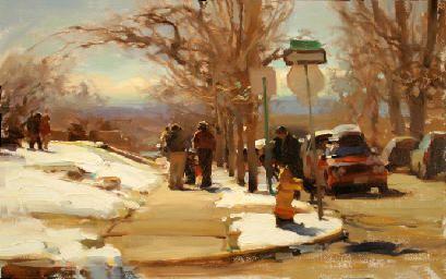 March in Colorado. Oil, 10x16. Kim English