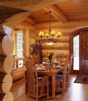 kuchnia w drewnie w domu z bali