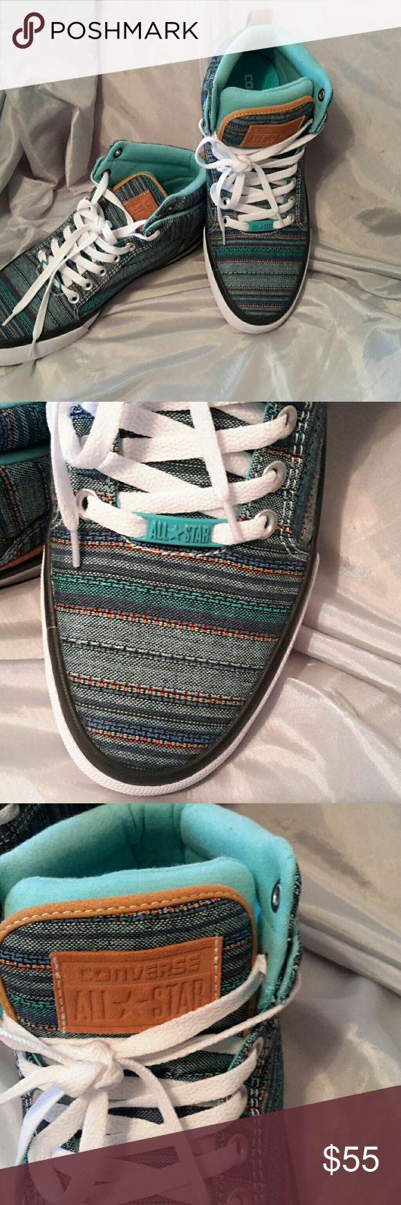 Men's converse all star aqua blue fabric NWOT Suede trim size 9 (hL) Converse Shoes Sneakers