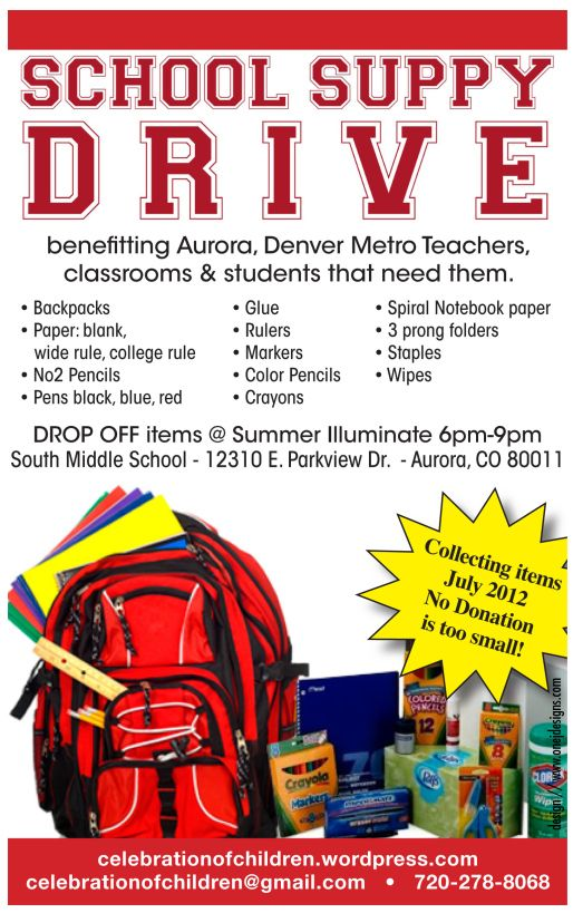 Classroom supply drive idea  Celebration Of Children School Supply Drive