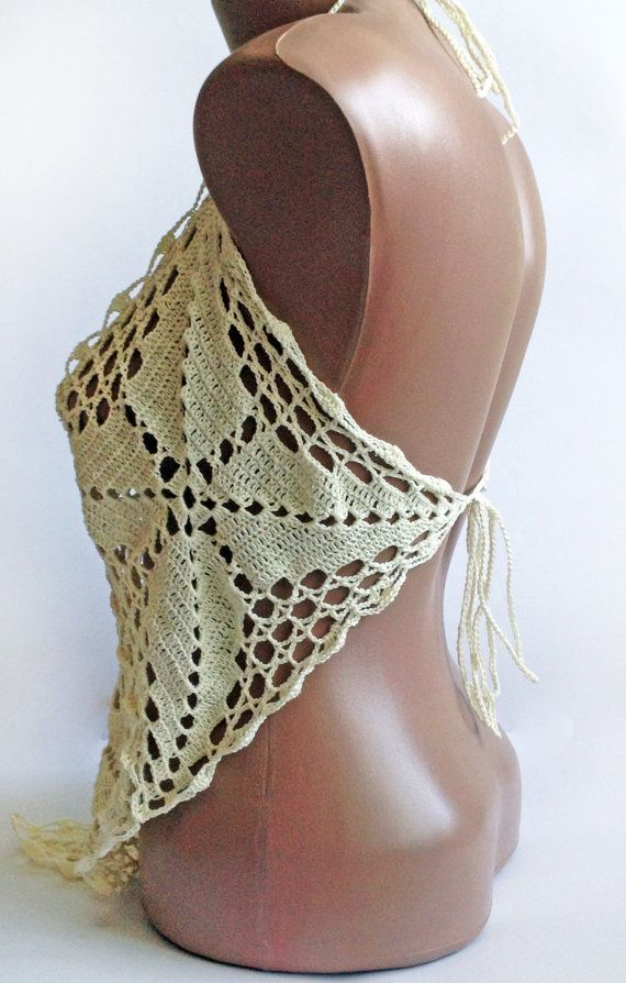 Womanly, sexy and stylish #crochet top with open back. This is an original and unusual design. You'll be irresistible and sexy. Made with love. 100% handmade.  Size: S chest... #scarf