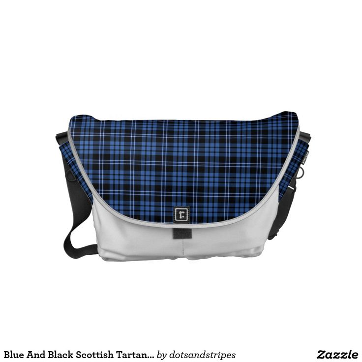 Blue And Black Scottish Tartan Plaid Pattern Small Messenger Bag. Available In Different Sizes.