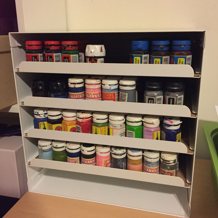Using the ikea kvissle letter tray to store Games Workshop paints