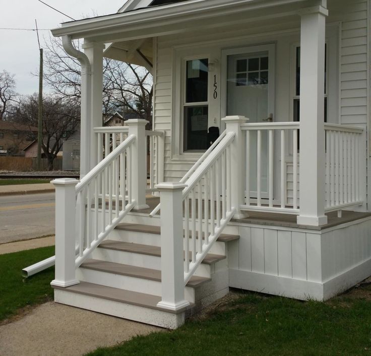 Captivating What Front Porch Column Wraps To Choose? : Appealing Small Front Porch  Decoration Using White