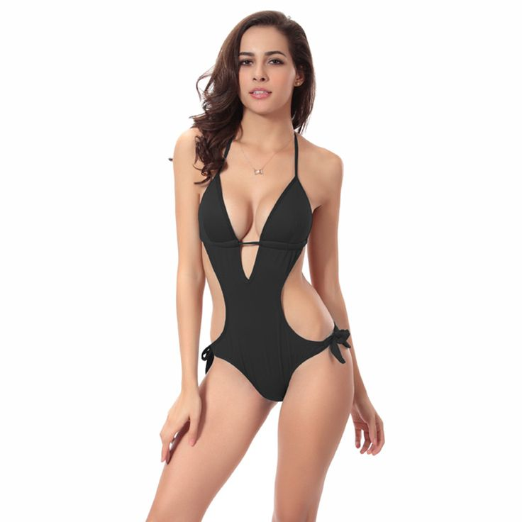LOFEVER Deep V Neck Sexy One Piece Swimwear Women Cut Out Halter Black Swimsuit Pad Sport Swim Beachwear Suits Dropshipping //Price: $US $12.62 & FREE Shipping //     #shoes