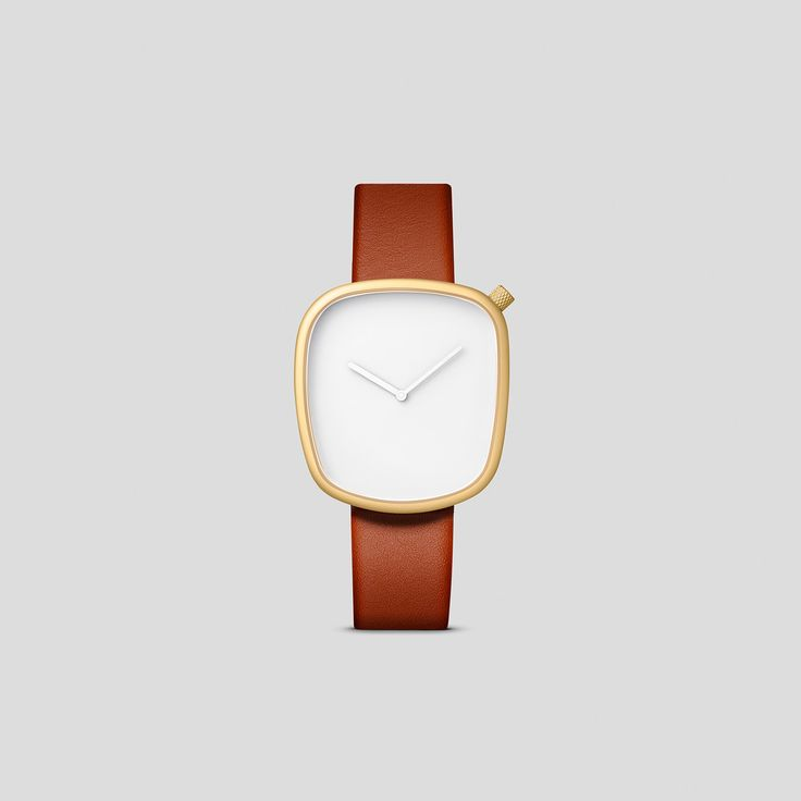 MATTE GOLDEN STEEL ON BROWN ITALIAN LEATHER.  Designed by acclaimed, Danish design trio, KiBiSi, and inspired by the worn pebbles found along Scandinavian coastlines, the Pebble watch is a carefully considered timepiece created through a comprehensive process combining time-honored craft and idea-driven innovation.