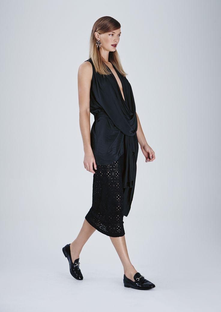Drape Splice Top, Riviera Lace Midi Skirt and Breeze Wrap