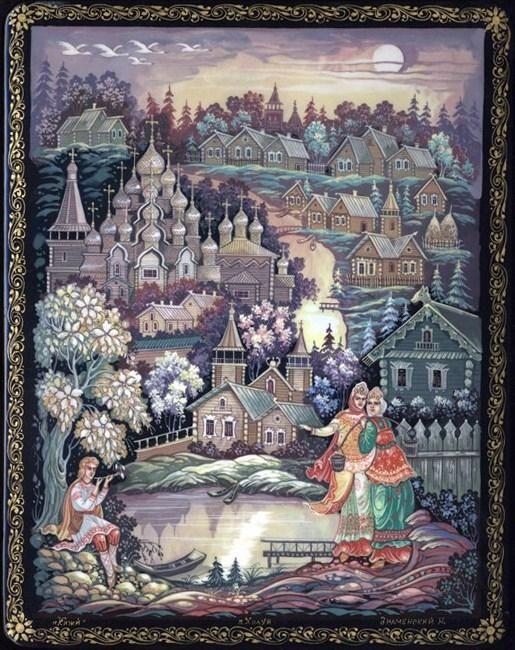 Kholui School  Title: Kizhi island  Artist: Znamenskii N.  Size (cm): 14x18x4  Size (inches): 5.5x7x1.5  Price: 475  Sale 225