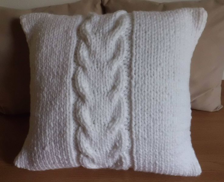 Super Chunky Pure White Cable Knit Pillow Cover, Bulky White 18x18 Pillow Case, Thick Yarn Hand Knit Pillow Cover, Decorative  Couch Pillow by Adorablewares on Etsy