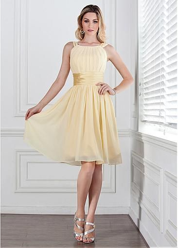 Chic Chiffon Natural Waistline Knee-length A-line Bridesmaid Dresses