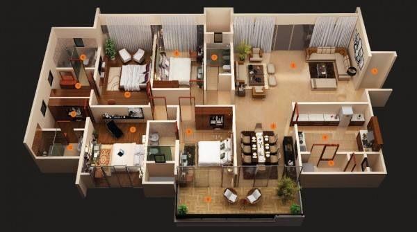 Image Result For Rumah Teres Setingkat 4bilik Four Bedroom House Plans 3d House Plans 4 Bedroom House Designs