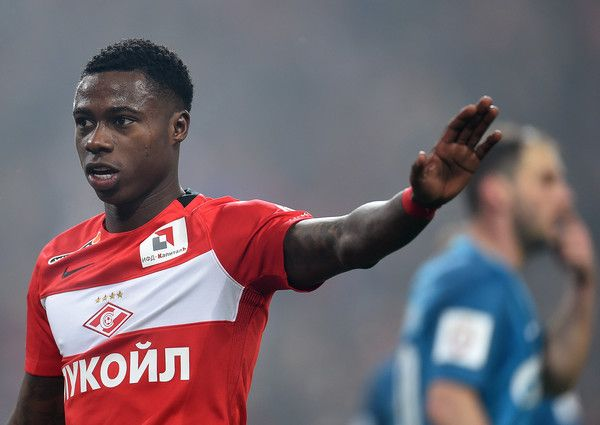 Quincy Promes of FC Spartak Moscow celebrates after scoring a goal during the Russian Premier League match between FC Spartak Moscow v FC Zenit Saint Petersburg at Otkrytie Arena Stadium on April 16, 2017 in Moscow, Russia.