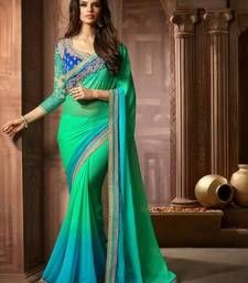 Buy green and sky blue shaded embroidered chiffon saree with blouse designer-embroidered-saree online