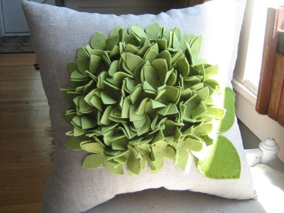 Hydrangea+Pillow+in+Pea/Sage+Green+and+Oatmeal+by+dedeetsyshop,+$35.00