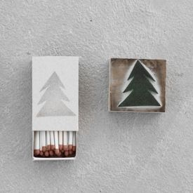How to style your matchboxes with homemade Christmas stamps