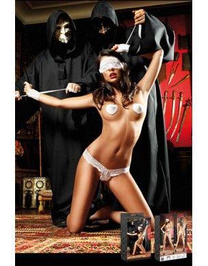 SÓLO PARA ATREVIDASSet bondage compuesto por un una máscara de encaje de color blanco, esposas, tanga y pasties a juego. No incluye el resto de accesorios.
