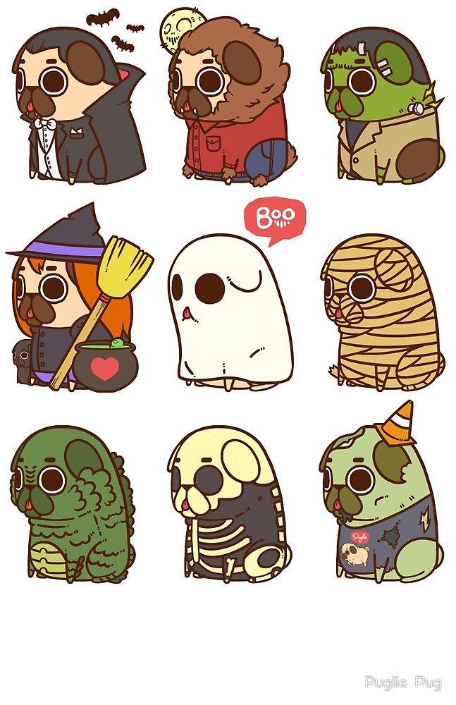 Puglie Halloween by Puglie Pug Dibujos de pugs, Dibujos