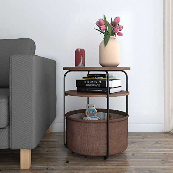 Lifewit 3 Tier Round Medium Side Table End Table Nightstand With Storage Basket Modern C Table Decor Living Room Side Table Decor Side Table Decor Living Room