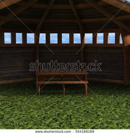 A view of the tent, garden house. A view inside. Sky with clouds. 3D rendering, 3D illustration