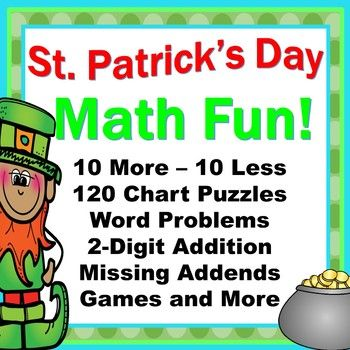 Your students will love the 120 Chart Activities, Missing Addends, 2 Digit Addition Without Regrouping, 10 More / 10 Less, Partial Hundreds Chart Puzzles, and many more Fun Activities and Games that are perfect for St. Patrick's Day! My kids love following the arrow clues to the mystery number on the 120s Chart and playing the fun games that promote strong number sense and fact fluency!The set includes: 5 - Missing Addends Student Handouts2 - Missing Addends Word Problems Student Handouts1…