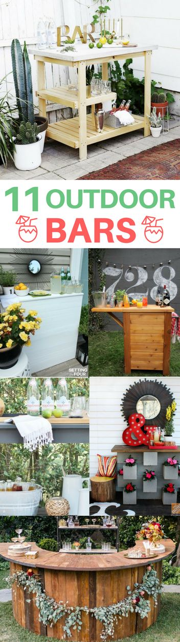 Amazing DIY outdoor bar ideas perfect for backyard entertaining! They are easy & cheap to make.