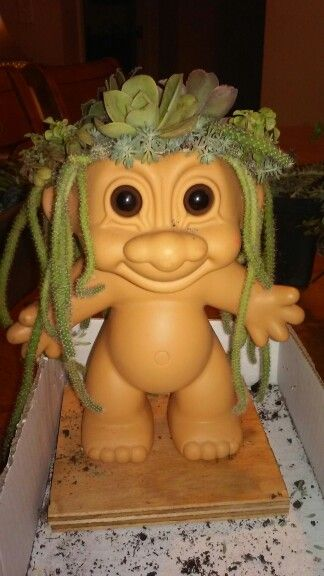 Troll dolls as a planter
