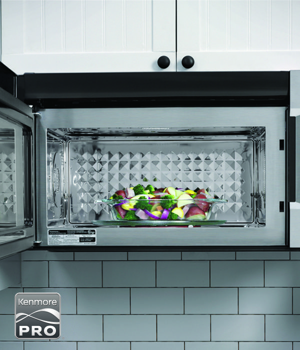 kenmore pro logo. the new kenmore pro microwave features a precision sensor for moisture detection. veggies from pro logo
