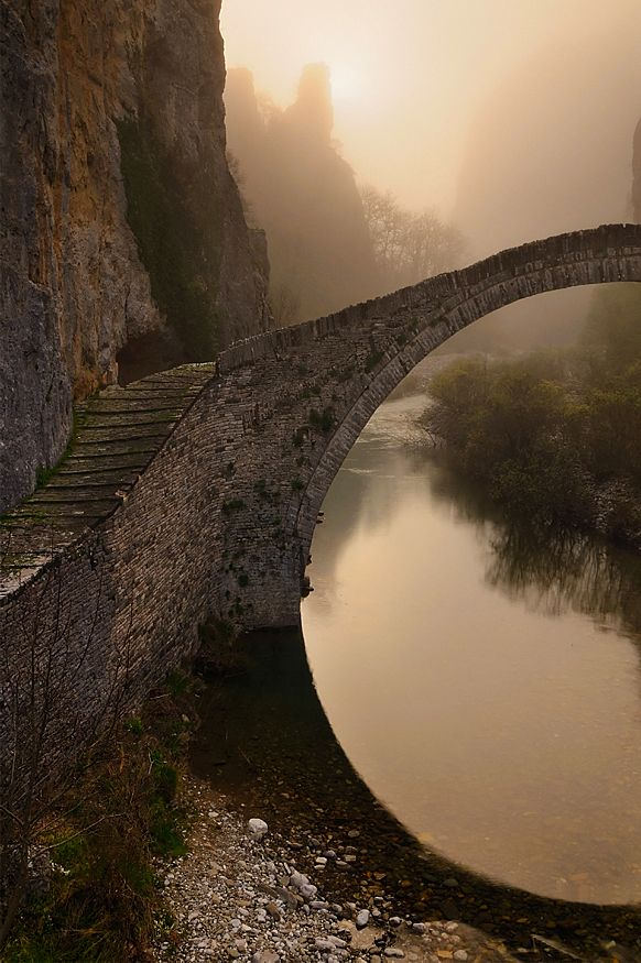 Single arched stone bridge of Kokkorou, Epirus, Greece
