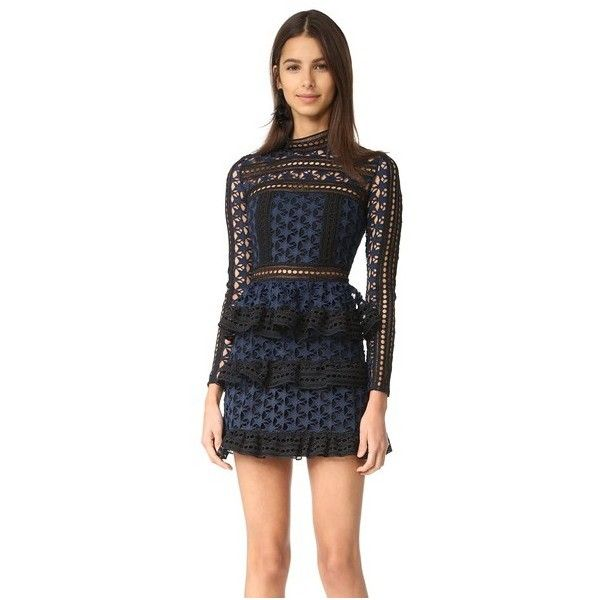 Self Portrait High Neck Star Lace Dress ($440) ❤ liked on Polyvore featuring dresses, navy, long sleeve short dress, long-sleeve mini dress, navy blue cocktail dress, navy lace cocktail dress and lace dress