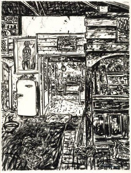 Jan Senbergs ~ Kitchen at Smacka's, 1995 (black pastel on paper)
