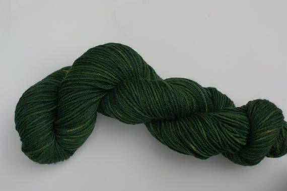 DEEP GREEN INDIGO  Indigo and Onion Skin dyed New Merino Wool