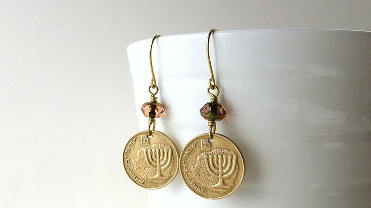Jewish earrings, Coin earrings, Israel, Bat Mitzvah gift, Czech beads, Rosaline beads, Jewish, Coin jewelry, Menorah, Hanukkah, Girls gifts by CoinStories on Etsy
