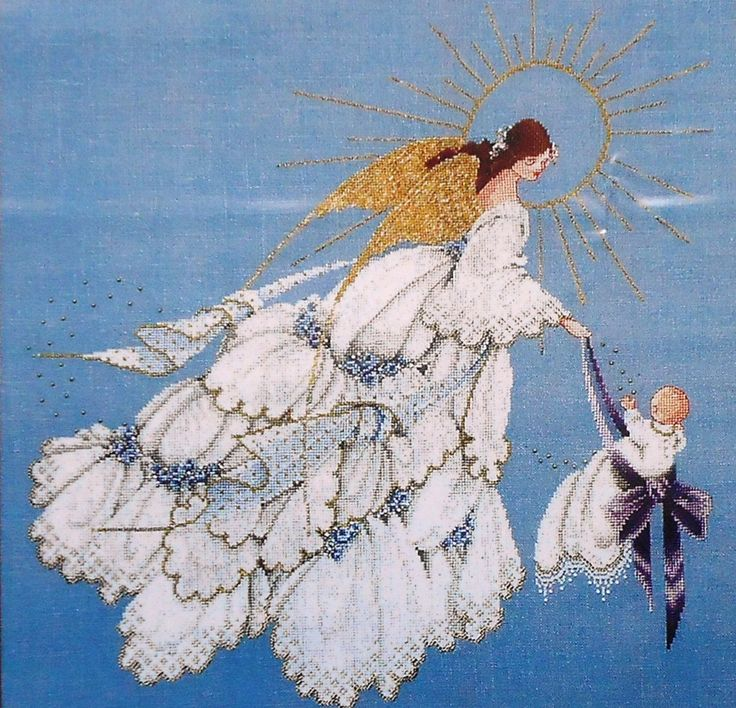 I just finished making the blonde version of this, Angel of Mercy, w/o the baby in the basket.  Beautiful!!!!!!!!!!  Angel of Mercy II, Lavender and Lace