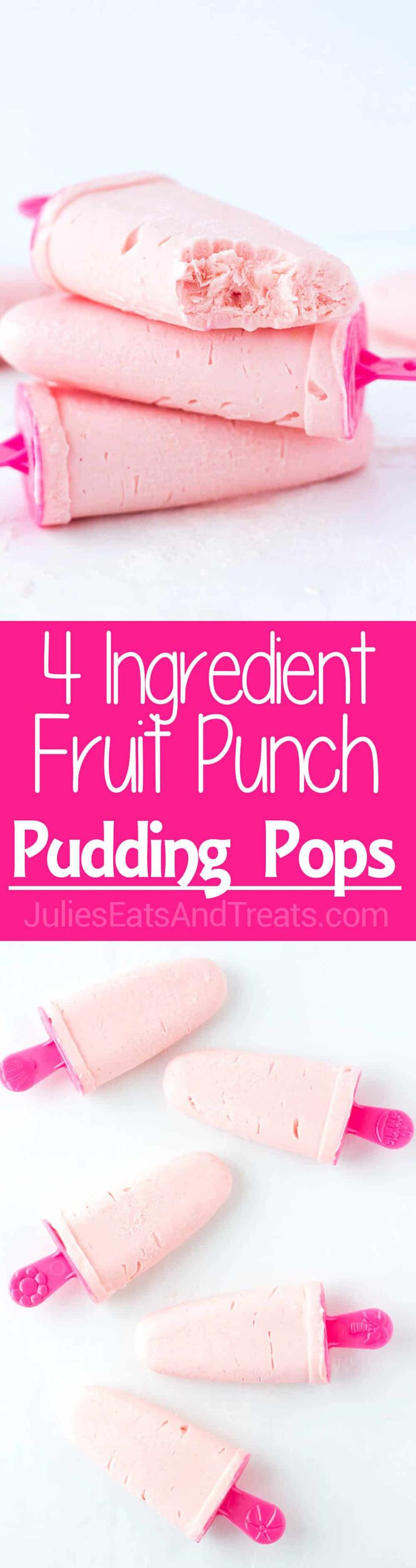4-Ingredient Fruit Punch Pudding Pops: An easy, fruity, frozen treat that the kids (and adults!) will love this summer! Flavor the pudding pops with any juice flavor you love! ~ https://www.julieseatsandtreats.com