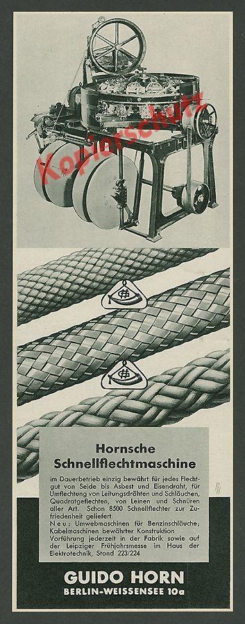 Guido Horn Berlin Weissensee Seilerei Handwerk Schnellflechtmaschine Technik ´37 in Antiquitäten & Kunst, Antiquarische Bücher   eBay