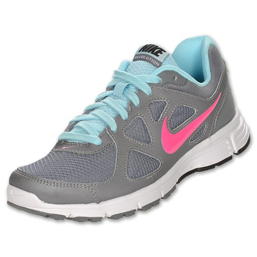 Nike Revolution Women\u0026#39;s Running Shoes | FinishLine.com | Cool Grey/Seashell Blue/