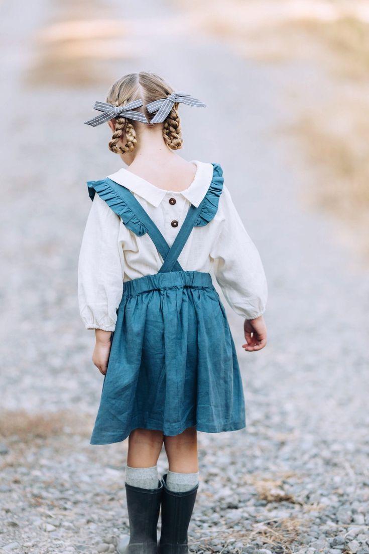 915313bd2c1 Little Girls Handmade Vintage Style Blue Linen Pinafore Dress ...