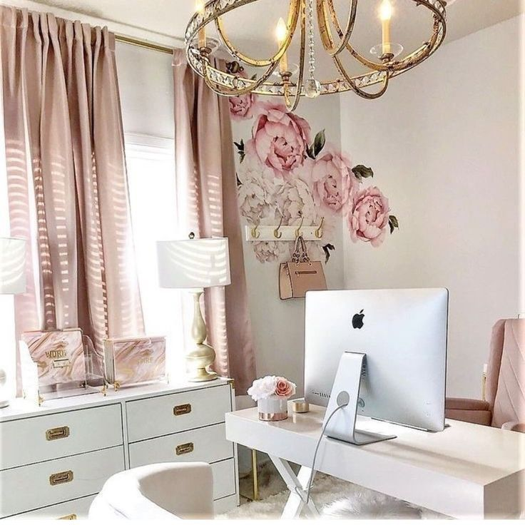 Amazing Girly Office Inspiration. Blush And Gold Office