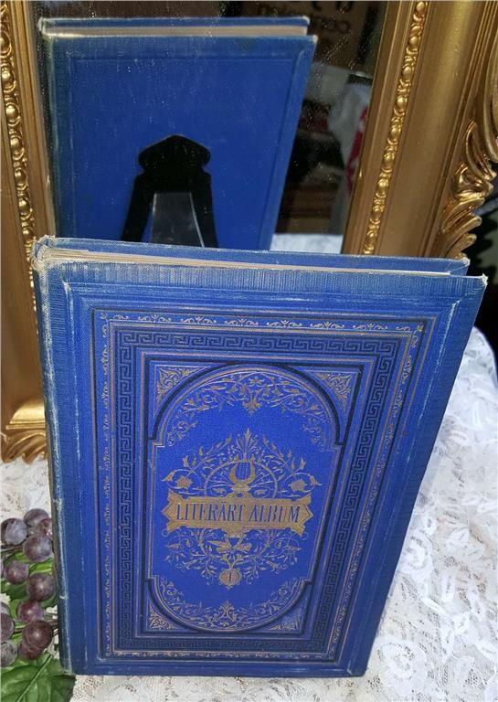 Annons på Tradera: Litterärt Album från 1877. FÖRSTA  UPPLAGAN. Guldkantade blad. Dekorativ!