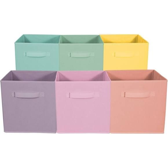 Sorbus Storage Boxes Pastel Pastel Set Foldable Storage Cube Basket Bin Set Of Six 13261769 Cube Storage Fabric Storage Cubes Cube Storage Bins