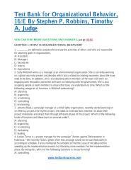 download Test Bank for Organizational Behavior, 16E By Stephen P. Robbins, Timothy A. Judge.pdf