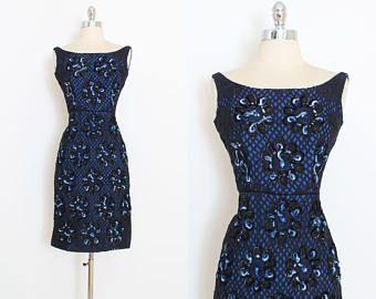 Vestido vintage años 50 | Vestido de encaje de peekaboo de la década de 1950 | wiggle azul negro | XS | 5986
