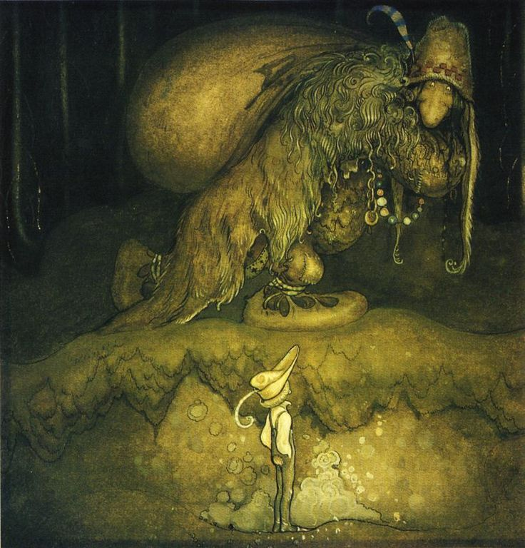 Swedish artist John Bauer. Made a lot of awesome, pagan-y, creepy children's illustrations involving trolls, elves, and dark forests. Cool stuff!
