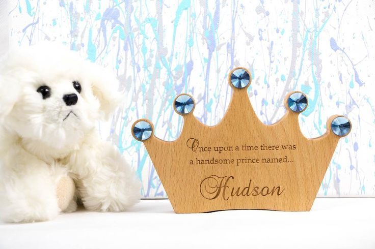 Sweet wooden Crown customised. It would look great sitting on a nursery shelf. Made from solid European Beech wood this beautiful keepsake will be treasured for a long time. Optional Extra - Engraving a message on the back.