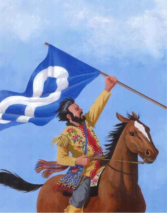 """""""Forward!"""" from The Metis Nation, written by Jean La Prairie."""