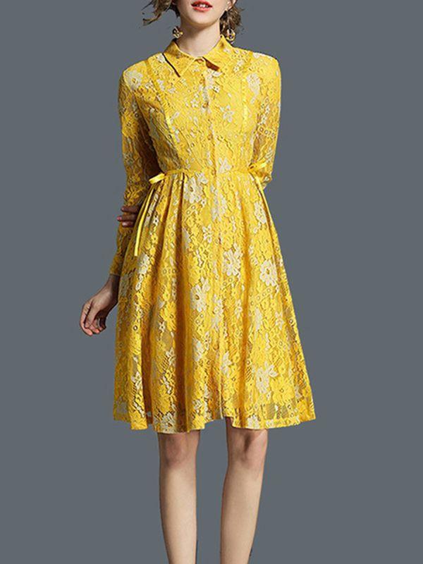d9f9d154c6ff1 Women Lace Dress Turndown Collar Pleated Long Sleeve Yellow Women ...