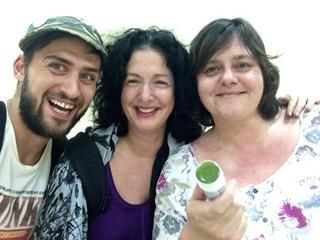 The film crew, Jasyn Howes (DOP), Lisa Chait (Host) and Sharon Farr (Director).