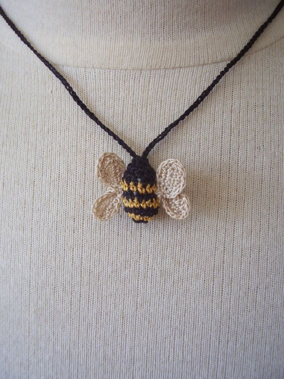 Thursday Handmade Love Week 72 - Crochet Addict UK. Theme: necklaces Crocheted Bee Necklace