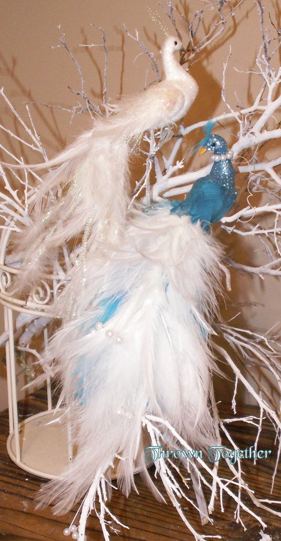 Peacock Wedding Cake Topper Turquoise & White by ThrownTogether, $45.00