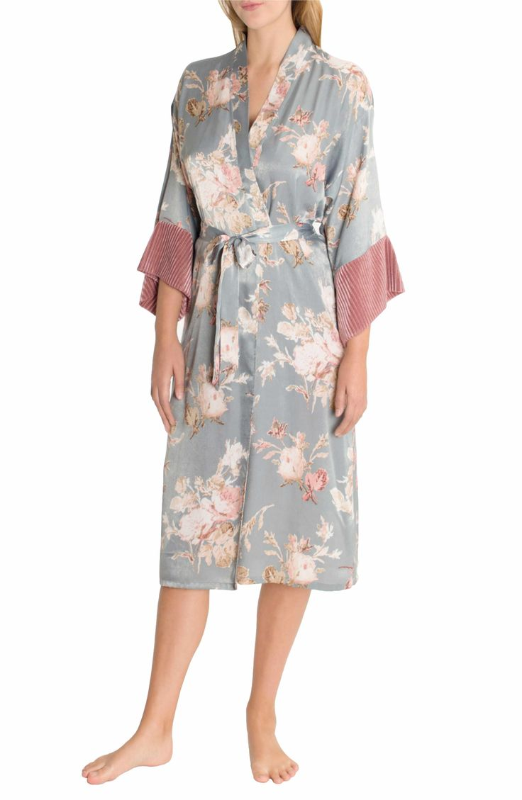 Main Image - Midnight Bakery Satin Kimono Robe